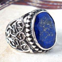 Silver Ring Lapis Lazuli Men Sterling 925 Mens Jewelry deep blue Afghan gemstone #KaraJewels #Handmade