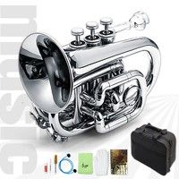 Wish   Lade Bb Mini Pocket Trumpet In Lacquer Finish With Case & Accessories Musical Instrument(Size: about 27.5*13*21cm) (Color: Silver)