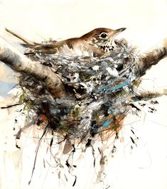 "Saatchi Online Artist: Lucy Newton; Paint, Mixed Media ""songthrush"""