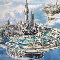 Sci Fi Landscape Futuristic Architecture Remodels and restorations Cyberpunk City, Ville Cyberpunk, Cyberpunk Kunst, Futuristic City, Concept Art Landscape, Fantasy Art Landscapes, Fantasy Concept Art, Fantasy Artwork, Space Fantasy