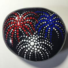 Hand Painted Mandala Stone Dot Art Stone Fourth of by MafaStones