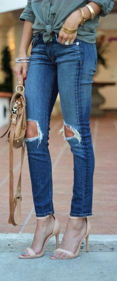Nude Heels + Ripped Denim
