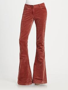 Theory Crushed-Velvet Bell Bottom Pants, Saks Fifth Avenue  used to have a pair in bright orange. miss them a lot.