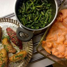"""Kateřina Gallinová on Instagram: """"Baked smoked salmon with butter, green beans, hasselback potatoes and sweet potatoes with butter, parsley and lemon thyme / Pečený uzený…"""" Hasselback Potatoes, Smoked Salmon, Grill Pan, Parsley, Green Beans, Sweet Potato, Seafood, Grilling, Lemon"""
