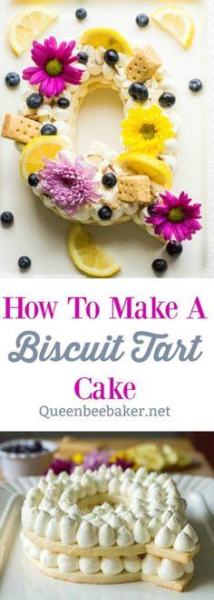 How To Make A Biscuit Tart Cake | Queenbeebaker.net #creamtart #creamtartcake #biscuitcake #biscuittartcake #cookietartcake