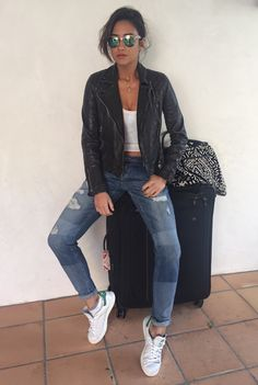 """peachesandrainbows: """"Airport #ootd #oots (outfit of the Shay) lol """" leather jacket"""