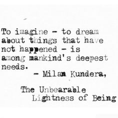 The unbearable lightness of being a novel milan change and books to imagine to dream about things that have not happened is among mankinds deepest fandeluxe Image collections