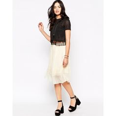 Candela Sheer Pleated Skirt (1,590 MXN) ❤ liked on Polyvore featuring skirts, off white, see through skirt, sheer skirt, tall skirts, knee length pleated skirt and elastic waist skirt