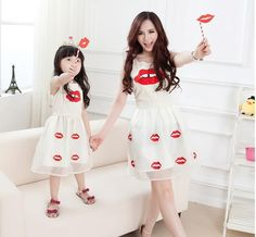 Kisses Print Organza Dresses Girls And Mother Summer Sleeveless Cute Dress Stylish Fashion Mother Daughter Slim Dresses Online with $16.13/Piece on Smartmart's Store | DHgate.com