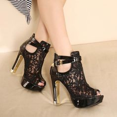 New Lace Peep Toe High Heels Buckle Causal Shoes Women Platform Party Prom Shoes Open Toe High Heels, Platform High Heels, Black High Heels, High Heels Stilettos, High Heel Boots, Ankle Boots, Sandals Platform, Nude Heels, Black Platform