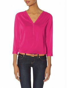 Glossy V-Neck Blouse from THELIMITED.com #TheLimited