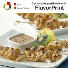 Add a balanced heat and Asian flavor to your barbecue with teriyaki chicken skewers served with a creamy peanut sauce. Find other appetizers you'll love with FlavorPrint.