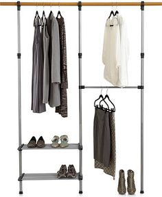 Put it there. This storage solution immediately rearranges and reorganizes your closet, so you can hang even more in the same amount of space. Hooking onto your closet bar, this wardrobe necessity offers an extra hanging bar and two shelves.