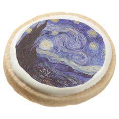 Vincent Van Gogh Starry Night Round Shortbread Cookie