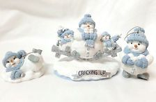 Snow Buddies Cracking Up  Figurine & 2 Ornaments Blue White Snowmen Lot of 3