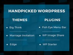 We always want you to have the best of everything.  That's why we have handpicked 3 #WordPress #themes and #plugins each just for you.  All these themes and plugins will be a great addition to your arsenal. Let's check out what's in the bundle:  Big Think One Page Multipurpose WP Theme Marriage Invitation WP Theme Edge WP Theme WP Starter Plugin WP Image Share Plugin WP Fish Eye Menu Bar Plugin