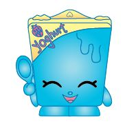 """Ghurty (Shopkins 1-068, 1-076) Ghurty is a blue and yellow container of yogurt that reads """"yoghurt"""" in pink letters. Her variant is a green and pink container that reads """"yoghurt"""" in yellow letters. Ghurty is a rare Dairy Shopkin from Season One."""
