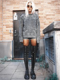 #Clothes: Knitted sweater and over-knee boots from Agyness Deyn for Dr. Martens, shorts from Levi's Vintage and sunglasses from Romwe.