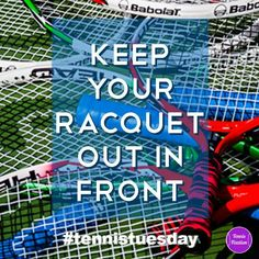 Keep Your Racquet In Front - a simple tip that can help with all of your #tennis strokes #tennistuesday #tennislife #tennisfixation