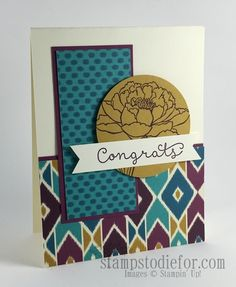 Cottage Greetings Congrats Card & Bohemian Paper www.stampstodiefor.com