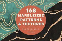 168 Marbleized Patterns & Textures by Blixa 6 Studios on @creativemarket