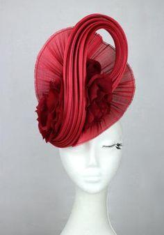 Red jinsin headpiece / hat with blood read flower accents www.marilynvandenberg.com