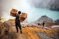Workmen mining sulfur from a live volcanoJobs do not get too...  Workmen mining sulfur from a live volcano  Jobs do not get too much more dangerous than pulling sulfur straight out of an active volcano  and all for $5 a day. Photographer Troyce Hoffman 30 accidentally stumbled upon the sulfur mine on Kawah Ijen on the Indonesian island of Java when checking out the active volcano.  Troyce from Northern California took the shocking photos during his long trip through Asia after he was…