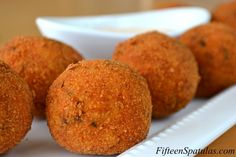 Chorizo Potato Croquettes: Mashed potatoes mixed with browned chorizo and cheese, breaded and fried until crispy.
