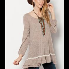 Flowy Mocha Boho Crochet Lace Baby Doll Tunic Top LIGHTWEIGHT AND SEMI SHEER HEATHERED TRI-BLEND JERSEY TUNIC WITH BOTTOM RUFFLE AND ELASTIC CUFFS. NWOT ‼️Please do not purchase from this listing. Pls msg me and I will set up a separate listing with your size‼️ Tops Tunics