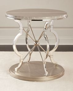 Shop Sergio Mirrored Accent Table from Ambella at Horchow, where you'll find new lower shipping on hundreds of home furnishings and gifts. Mirrored Furniture, Metal Furniture, Handmade Furniture, Luxury Furniture, Furniture Decor, Silver Side Table, Round Side Table, End Tables, Coffee Tables
