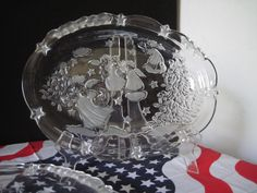 Glass or Crystal Oval Candy Plate with Angels and Christmas Tree.