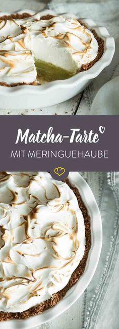 Herb und süß, cremig und knusprig: Exotischer Kokosboden trifft auf geschmeidige Matcha-Füllung trifft auf luftige Baiserhaube.