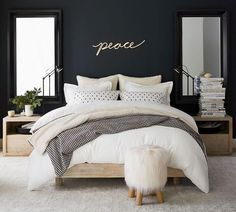 Need bedroom inspiration? Shop Pottery Barn for stylish bedroom furniture and decor. Create an warm and cozy bedroom oasis with quality bedding in classic styles and colors. Home Bedroom, Bedroom Furniture, Bedroom Decor, Bedroom Ideas, Furniture Decor, Modern Furniture, Furniture Design, Modern Decor, Quality Furniture