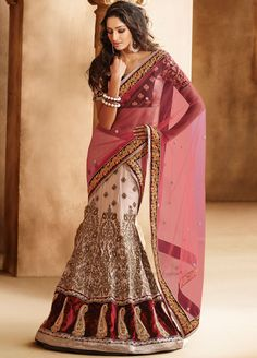 Order now, Elegant Net and Georgette Lehenga Style Saree with Dupion Blouse NKK-5029. FLAT Discount 20% OFF @ Manndola.com