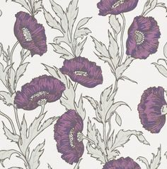 Poppy (81/1002) - Cole & Son Wallpapers - A late 19th c Art Nouveau design adapted and recoloured. Shown here drawn in silver with the contemporary colours of purple, mauve and grey on a pale lilac base. Please ask for a sample for true colour match.