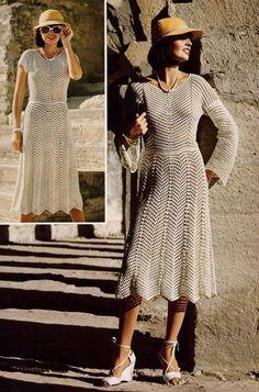 DIY Chevron Lace Short Or Long Sleeved Dress PDF Vintage Crochet Pattern