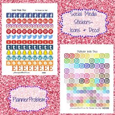 Social media icons & multicolor deco! Instagram, Pinterest, snapchat, Etsy, facebook, Wordpress, blogger, google plus, YouTube & twitter. | Free printable planner stickers from plannerproblem101.com! Download for free at https://plannerproblem101.com/2016/09/24/multicolor-social-media-icons-deco-free-printable-planner-stickers/