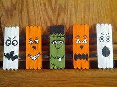 Halloween Crafts with Popsicle Sticks   Halloween craft. Popsicle sticks, acrylic paints and ...   HALLOWEEN!