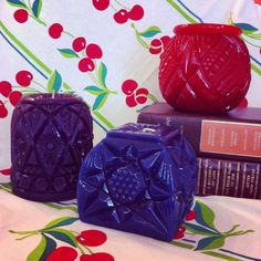 New candles from Kinzie.  Made using antique cut glass as the candle mold!