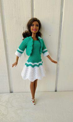 Barbie clothes Barbie Crochet Dress for Barbie Doll, Crochet set, dress, coat Christmas Barbie Dolls, Free Barbie, Knitting Dolls Clothes, Crochet Doll Dress, Crochet Barbie Clothes, American Doll Clothes, Doll Costume, Handmade Dresses, Barbie Dress