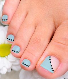 Simple tutorial for toenail art. Can do solid line instead of dots.