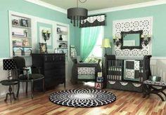 Black Gray White Baby Nursery | ... nursery, baby nurseries, aqua nursery, baby room, modern nursery
