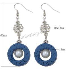 Lava Tropfen Ohrring, mit Glasperlen & Verkupferter Kunststoff, Messing Haken, Platinfarbe platiniert, blau, 63mm, 10x13mm, 19mm