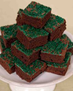 St. Patrick's Day Recipes: Green sprinkles add a festive touch to these fudgy chocolate brownies. St. Patrick's doesn't get much sweeter than this! Click through to get the recipe.