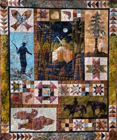 "This would be awesome for my dad! ""Gone Fishin"" Quilt Pattern by June Jaeger Log Cabin Quiltworks Big Block Quilts, Boy Quilts, Quilt Blocks, Man Quilt, Star Blocks, Bargello Quilts, Sampler Quilts, Quilting Projects, Quilting Designs"