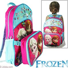 2-IN-1 DISNEY'S FROZEN LUNCH BOX & BACKPACKS. With an insulated soft lunch box and full-sized backpack, these are the perfect combo for any active kid. Lunch box has a zipper closure and attaches to backpack with hook and loop straps. Backpack has zipper closure, adjustable straps & 2 net side pockets.  Sizes 9 X 7 X 3 Inch lunch box, 16 X 12 X 5 Inch backpack