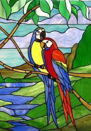 Image result for parrot stained glass