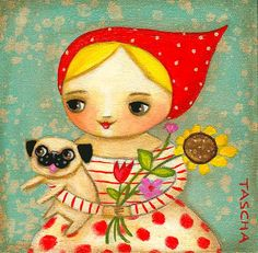 pug and florals - tascha