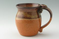 Large Pottery 16 ounce Thumb Rest Coffee Mug Ready to Ship in Honey and Orange