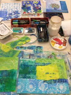 Using some hand decorated papers and an old calendar cover to make some double-sided bookmarks today... The Beautiful South, My Art Studio, Bookmarks, Behind The Scenes, Calendar, My Arts, Paper, Decor, Decoration